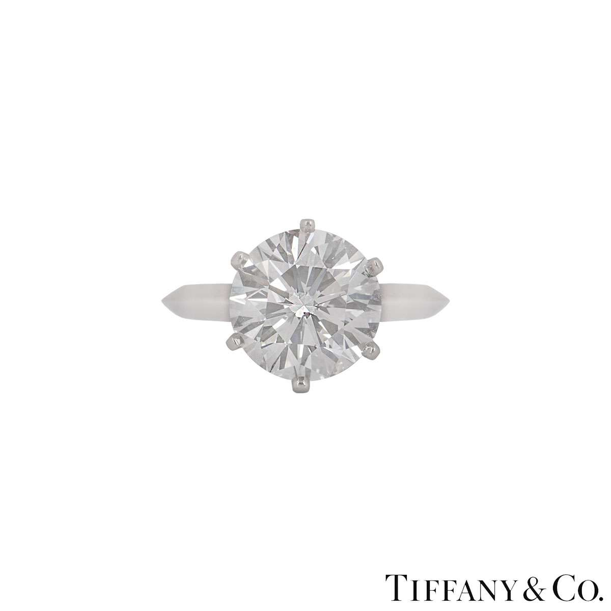 Tiffany & Co. Platinum Diamond Setting Ring 3.04ct E/VVS2